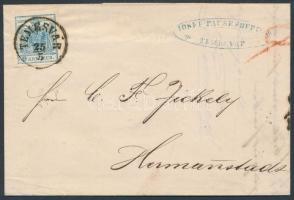 1856 9kr levélen / on cover TEMESVÁR - HERRMANNSTADT