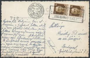 1936 Képeslap a Cortina DAmpezzoi bob világbajnokság reklámbélyegzőjével / Bob World Championship advertising cancellation on postcard