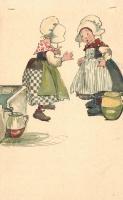 Dutch girls, Verlag von B. Dondorf No. 254. litho, Holland lányok, Verlag von B. Dondorf No. 254. litho
