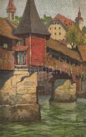 Luzern, Totentanzbrücke / bridge, litho s: E. Schlatter