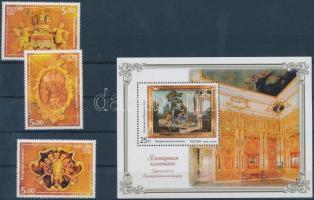 2004 A Katalin-palota Borostyán-szobájának restaurálása dombornyomott sor Mi 1177-1179 + dombornyomott blokk Mi 69