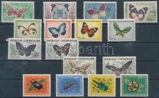 Butterflies and Insects 16 stamps, Lepkék és rovarok motívum tétel 16 db bélyeg, közte teljes sorokkal
