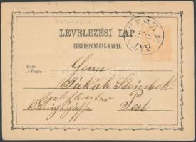 1874 Díjjegyes levezőlap BÁTORKESZ