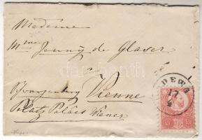 1872 Bárói címeres boríték Réznyomat 5kr bélyeggel DEWA -Wien