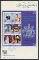 25th reign anniversary of Queen Elizabeth II set (3 pairs) + block on 2 FDC, II. Erzsébet királynő uralkodásának 25. évfordulója sor (3 pár) + blokk 2 FDC