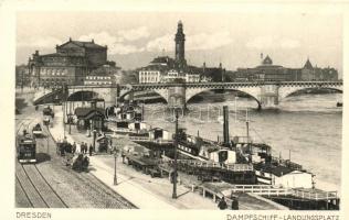 Dresden, Dampfschiff Landungsplatz / steamship port, tram 18