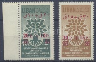 1960 Menekültek éve sor felülnyomott új értékkel (közte ívszéli bélyeg) Mi 693-694