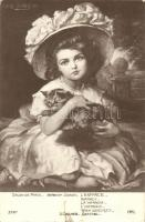 L'Enfance / Girl and cat s: Herbert Sidney, Kislány macskával s: Herbert Sidney