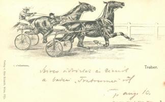 1899 Trauber; Verlag von Otto Schmidt, Wien / horse race s: O'Stückenberg (minor flaw on surface), 1899 fogathajtó verseny, s: O'Stückenberg (kisebb felületi hiba)