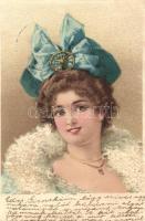 Lady, pearl decoration, litho, Hölgy, gyöngy díszítéssel, litho