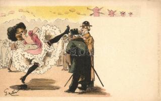 Can-can, French litho art postcard; Editeur F. P. á P. s: G. Mouton, Kánkán, francia litho művészlap; Editeur F. P. á P. s: G. Mouton