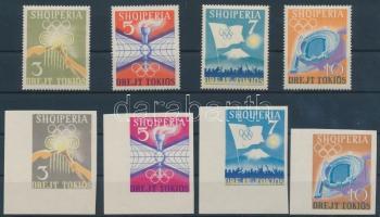 1964 Nyári olimpia fogazott és vágott sor Mi 823-826, 828-831