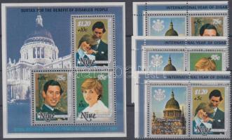 1981 A fogyatékkal élés nemzetközi éve 3 felülnyomott ívsarki szelvényes pár (sor) Mi 442-444 + felülnyomott blokk Mi 50