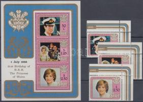 1982 Diana hercegnő 21. születésnapja ívsarki sor Mi 456-458 + blokk Mi 56