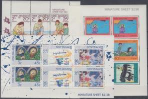 1981 + 1986-1987 Health: Childern's Paintings and paintingds 3 mini sheets, 1981 + 1986-1987 Egészség: gyermekrajzok és -festmények 3 kisív