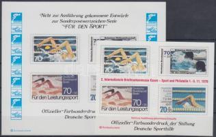 Sport memorial sheet with unrealized stamp pictures, Sport emlékív megvalósulatlan bélyegek képeivel