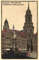 Dresden, Altmarkt, Kreuzkirche, Rathaus-Turm / market place, church, town hall tower litho