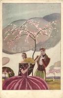 Italian art postcard, romantic couple, Romantikus pár, olasz művészeti képeslap