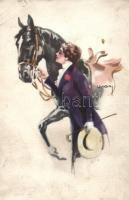 Italian art postcard, lady with horse, glued photo of a K.u.K. soldier on the backside s: Usabal, Hölgy lóval, hátoldalon osztrák-magyar katona ragasztott fotója s: Usabal