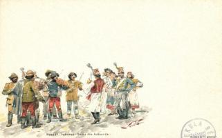 Hussar recruiting litho, Huszár toborzó litho