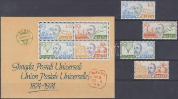 1974 100 éves az UPU sor Mi 497-500 + blokk Mi 4
