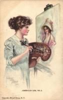 Painting lady, American girl No. 2. s: Pearle Fidler Le Munyan, Festő hölgy, American girl No. 2. s: Pearle Fidler Le Munyan