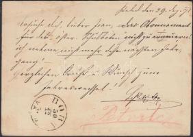 1873 Díjjegyes levezőlap a címoldalon nem, de a hatoldalon olvasható BOBA VAS M feladási bélyegzővel (erre az időszakra Gudlin nem jelöli)