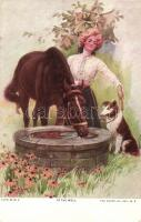 At the well, lady with horse and dog, The Knapp Co. H. Import No. 305-3., Hölgy lóval és kutyával a kútnál, The Knapp Co. H. Import No. 305-3.