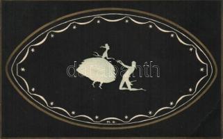 Couple silhouette art postcard, Pár sziluettje