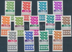13 diff. definitive stamps with tab, 13 klf tabos forgalmi bélyeg