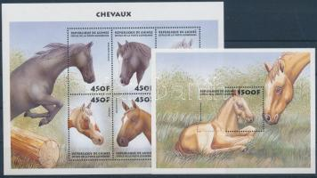 Horses minisheet + block, Lovak kisív + blokk