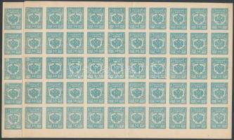 Nyugati hadsereg 1919 Kiadatlan vágott bélyeg Mi VI 100 db 50-es fél ívekben / Awaloff-Bermondt Army unissued imperforate set Mi VI 100 stamps in 2 half sheets of 50