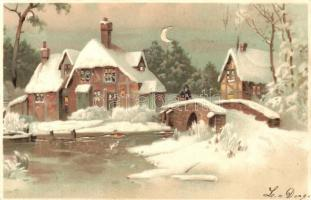 Little house in the winter, hold to light litho, Havas házak, fény felé fordítandó, litho