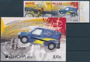 Europa CEPT Postal vehicles pair + stampbooklet, Europa CEPT Postai járművek pár + bélyegfüzet