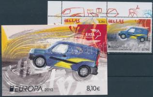 Europa CEPT Postal Vehicles corner pair + stamp-booklet, Europa CEPT Postai járművek ívsarki pár + bélyegfüzet