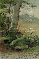 Landscape with tree, Emb. litho, Tájkép dombornyomott litho