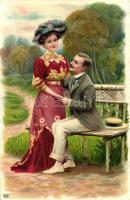 Romantic couple litho, Romantikus pár litho