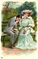 Romantic couple, hand kiss litho, Romantikus pár, kézcsók, litho