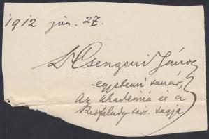 Csengery János (1856-1945) klasszika-filológus, műfordító, egyetemi tanár, a Magyar Tudományos Akadémia tagja. Aláírás kivágáson.