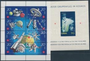 1962, 1971 Űrkutatás motívum kisív és blokk Mi 1636-1643 + 17