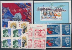 1963, 1965, 1978 Űrkutatás motívum 3 db 4-es tömb + 1 db 6-os tömb + 2 db blokk