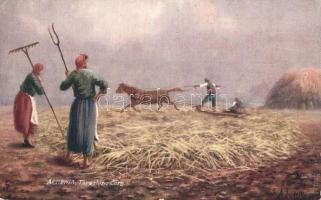 Armenian folklore, treshing corn, Raphael Tuck & Sons Oilette 7691. artist signed, Örmény folklór, kukorica cséplés, Raphael Tuck & Sons Oilette 7691. művész által aláírt