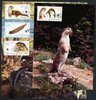 1987 WWF kihalófélben lévő állatok: vidra sor Mi 3107-3110 4 CM