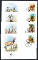 1991 WWF vörös tehénantilop sor Mi 1231-1234 4 FDC
