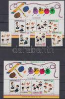 1993 Gyermekjátékok sor Mi 2113A - 2116A + blokk + felülnyomott verziója Mi 54-55 (2 stecklapon)
