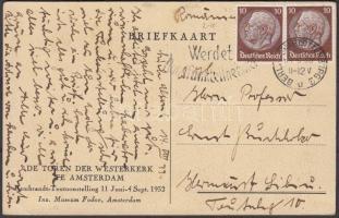 1933 Képeslap Nagyszebenbe 2 x Hindenburg 10Pf bérmentesítéssel (Mi EUR 70.-)