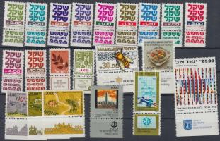 54 diff. stamps with tab on 3 stockcards, 54 klf tabos bélyeg 3 db stecklapon