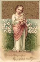 Christmas, New Year, child Jesus with lamb, golden decoration, floral Art Nouveau Emb. litho, A gyermek Jézus báránnyal, karácsonyi és újévi üdvözlőlap aranyozott díszítéssel, dombornyomott Art Nouveau litho