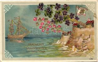 Születésnapi üdvözlőlap, virágos, aranyozott díszítéssel, dombornyomat, Birthday greeting card, flowers, ship, cannon, golden decoration Emb.