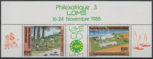 PHILEXAFRIQUE International stamp exhibition corner stripe of 3 margin label, PHILEXAFRIQUE nemzetközi bélyegkiállítás ívsarki hármascsík ívszélfelirattal